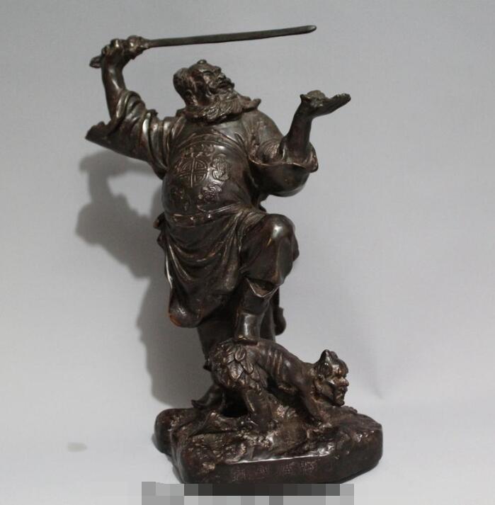 Envío Gratis S03146 10 bronce chino Zhong Kui Zhongkui captura la estatua del murciélago de la espada del Diablo