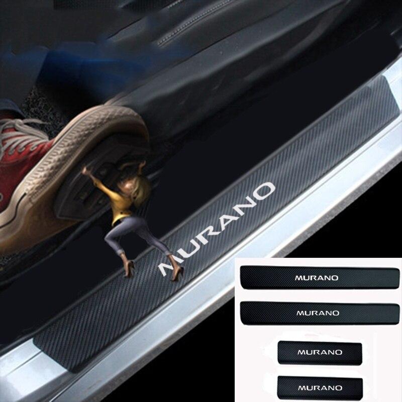 Car Styling For Nissan Murano Carbon Fiber Vinyl Sticker Car Door Sill Protector Scuff Plate Door sill guard Car Accessories