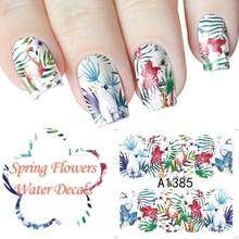 Butterfly Nail Sticker Transfer Water Full Nail Art Wraps Spring Flowers Manicure DIY Salon Pattern Fingernail Adhesive Paper