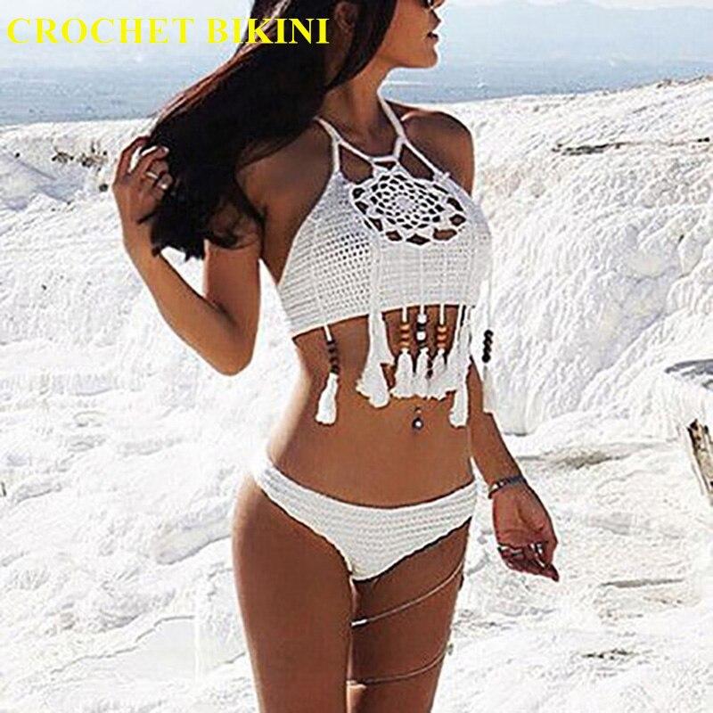 CROCHET BIKINI Sexy Halter Tie Knitting New Beach Swimwear Beaded Tassel Crop Top Brazil Bikini Swimsuit Bathing Suit