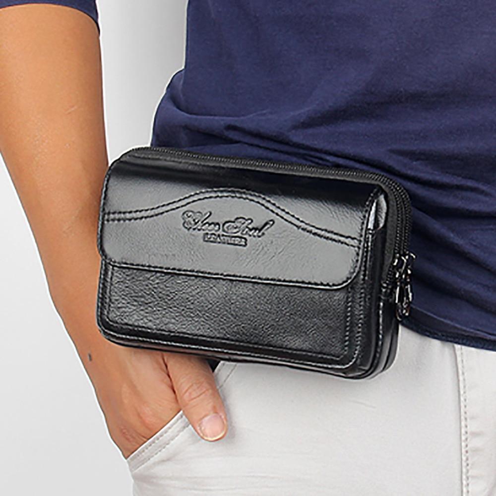 Мужской кошелек из натуральной кожи, поясная сумка-Органайзер для мобильного телефона, сумка-кошелек