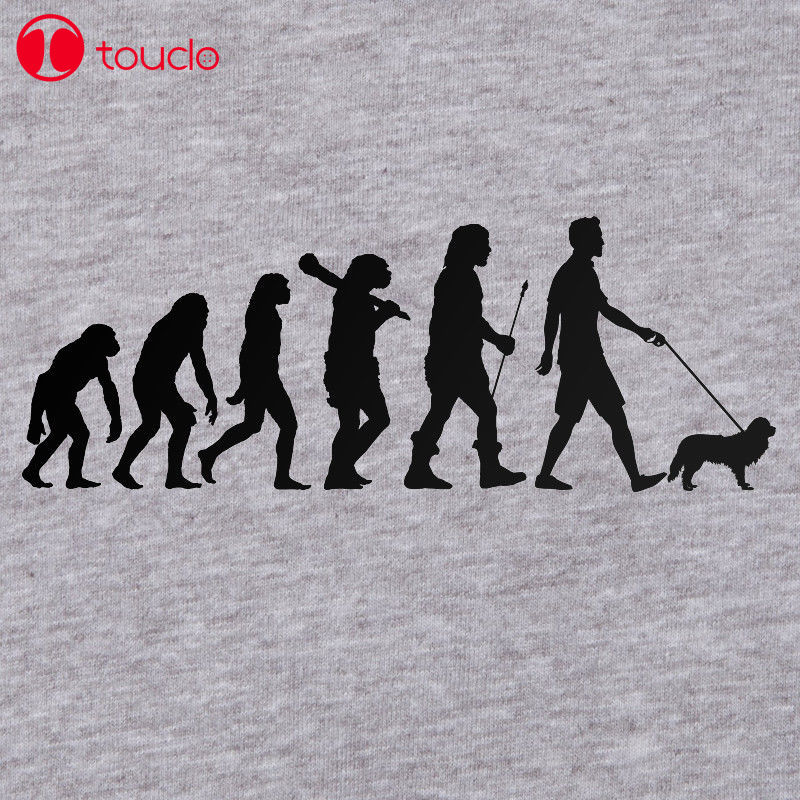 Nowy mężczyzna T koszula moda Cavalier King Charles Spaniel koszulka Evolution pies Walker Tshirt Puppy Top psów T Shirt bluzy z kapturem