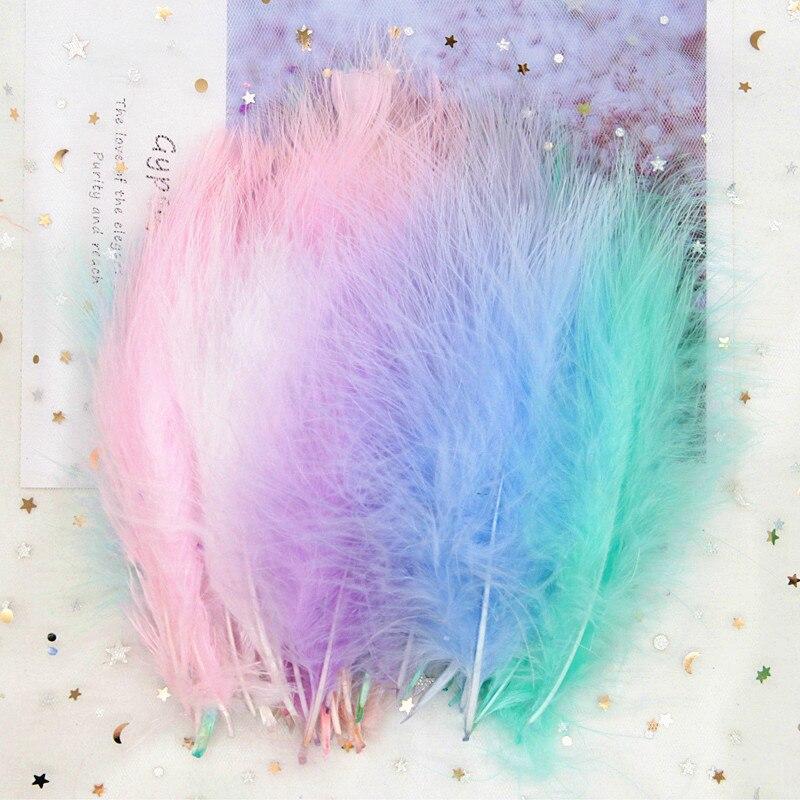Plumas de pavo Marabou de 4-7 pulgadas, 10-16CM, Plume, vestido de novia mullido, pluma de pollo, accesorios de decoración de joyería DIY, 50 Uds