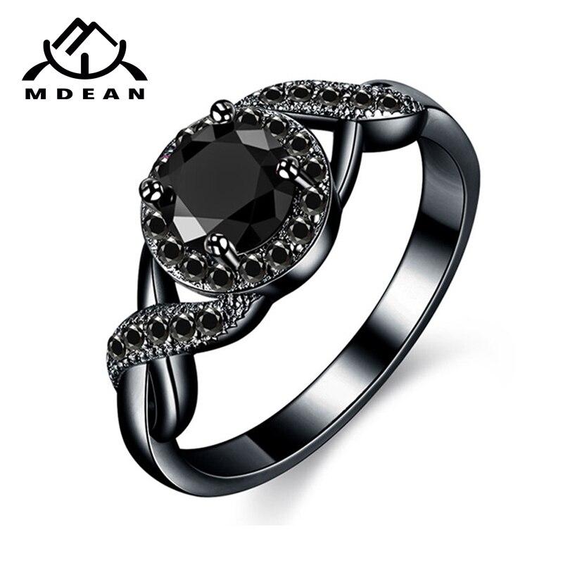 MDEAN Свадебные кольца черного и золотого цвета модные обручальные черные женские украшения из циркона Bijoux Bague Размер 6 7 8 9 10 H465