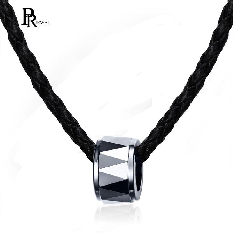 Collar de hombre de moda Color plata tungsteno puro acero rombo pendiente redondo de joyería