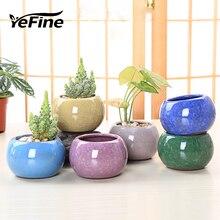 YeFine-Pots de fleurs en céramique   Pots de fleurs multicolores en glace craquelée, jardinière décorative de balcon, bonsaï de jardin