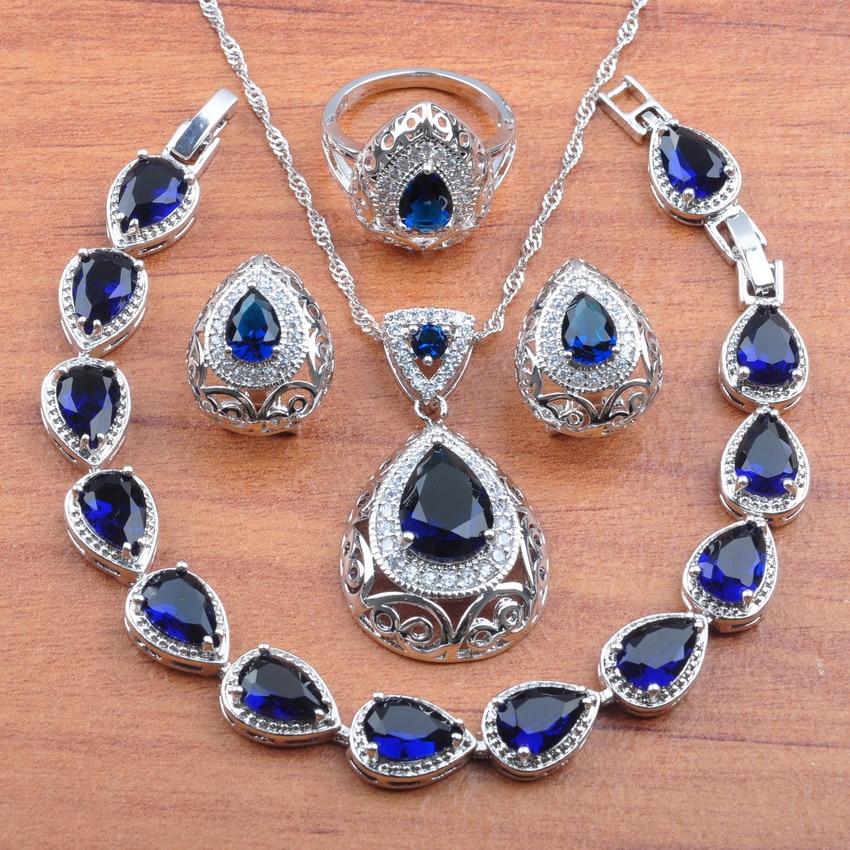 Cristal Natural australiano azul piedra Color plata Dubai oro conjunto de joyería para mujer joyería de boda mejor regalo JS0211