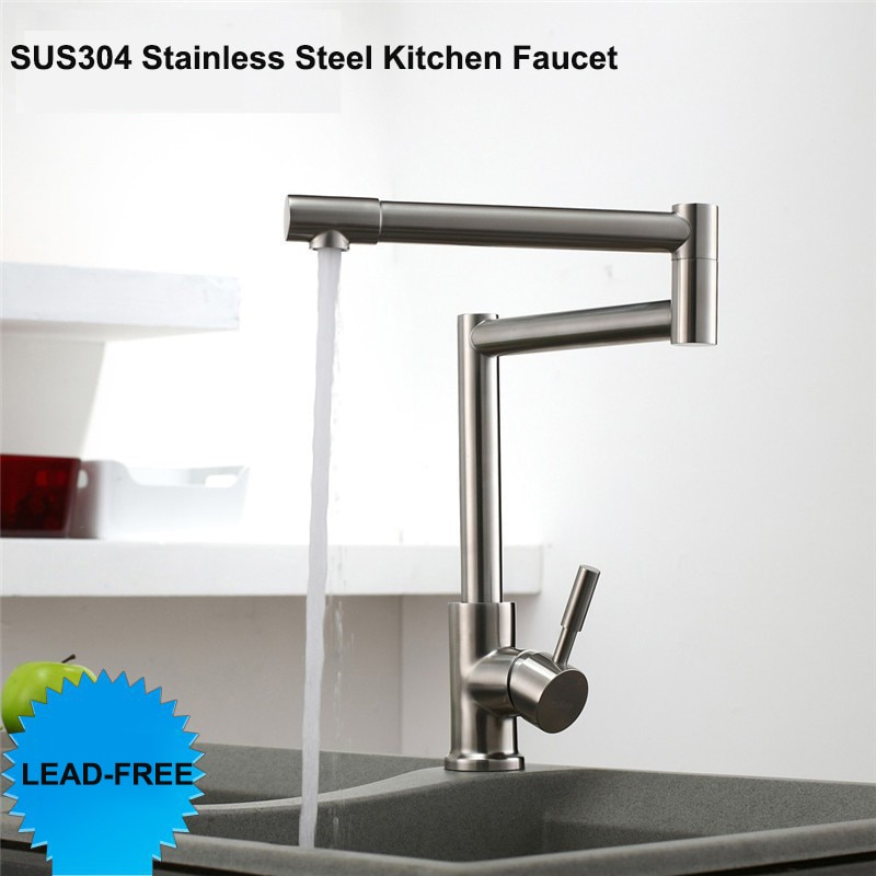 Lead -Free 360 Rotation Single Handle Hot Cold Mixer Tap Brushed Kitchen Sink Faucet SUS304 Stainless Steel Kitchen Faucet brushed stainless steel pot filler faucet lead free with dual joint swing arm and aerator surface deck mount kitchen mixer tap