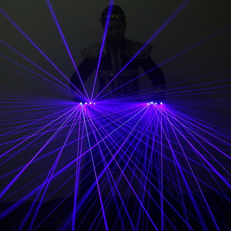 Blue Laser Gloves Laser flash finger, Dress Up LED Robot Suit Glowing Dress Bar Party Music Festival Live Atmosphere Props