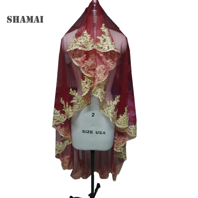 SHAMAI Gold lace edge burgundy red wedding veils long 150cm Length One Layer Bridal veils Wedding Veil Wihtout Comb