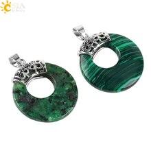 CSJA naturel gemme pierre perles femmes hommes pendentifs pour collier creux veines rondes Onyx cristal oeil de tigre Reiki bricolage bijoux E517
