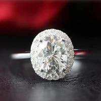 14k white gold 7x9mm 2 0ct oval cut moissanite ring unique wedding ring set halo diamond moissanite engagement ring
