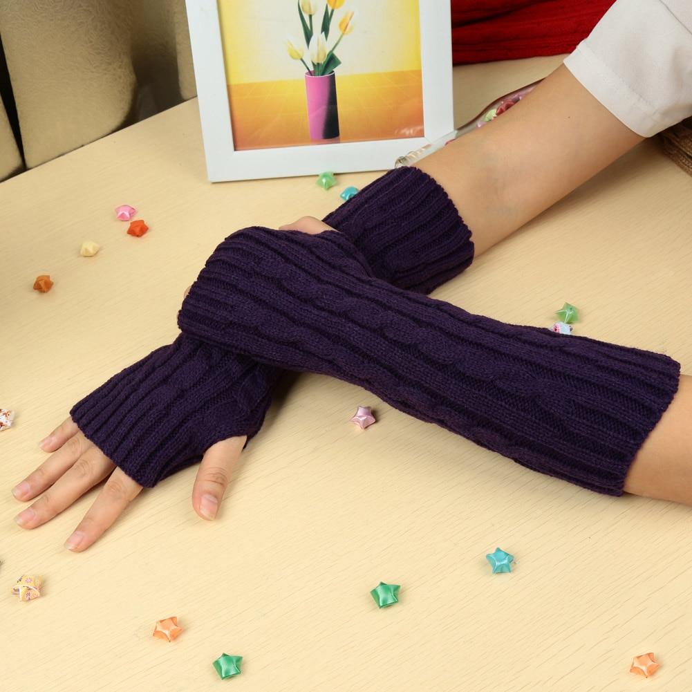 Модные зимние перчатки для мужчин и женщин варежки теплые вязаные без пальцев
