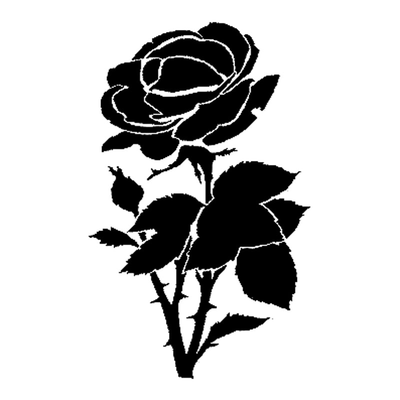 10cm*16.2cm Rose Flower Fashion Car Styling Car Accessories Decals Stickers Black/Silver S3-5343