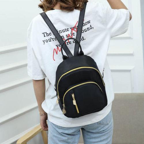Mochila de Nylon Mochila de Viagem Bolsas de Ombro das Senhoras Mulheres Meninas Preto Mini Mochila Satchel