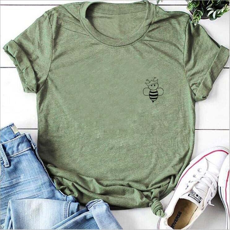 Camiseta con bolsillo de las abejas de la Reina camiseta gráfica divertida guardar las abejas tapas de las mujeres camisetas de apicultor