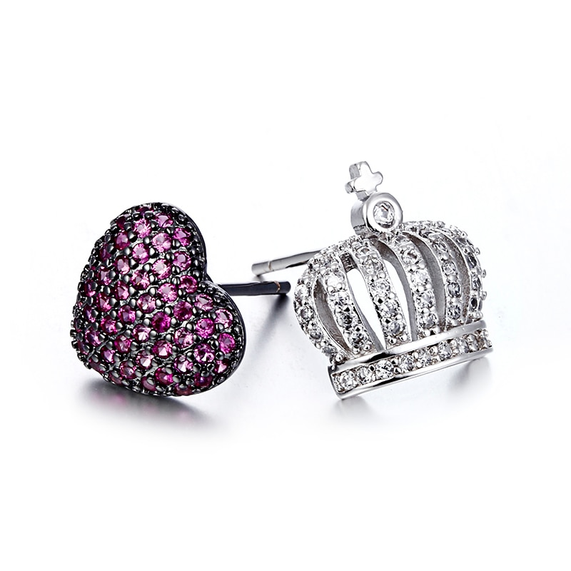 100% 925 sterling silver fashion asymmetry love heart crown crystal ladies`stud earrings jewelry Anti allergy Christmas gift