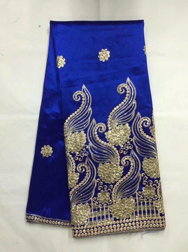 5 yardas/pc gran oferta tela de encaje azul real George con lentejuelas doradas tela africana de algodón para ropa JG21-3