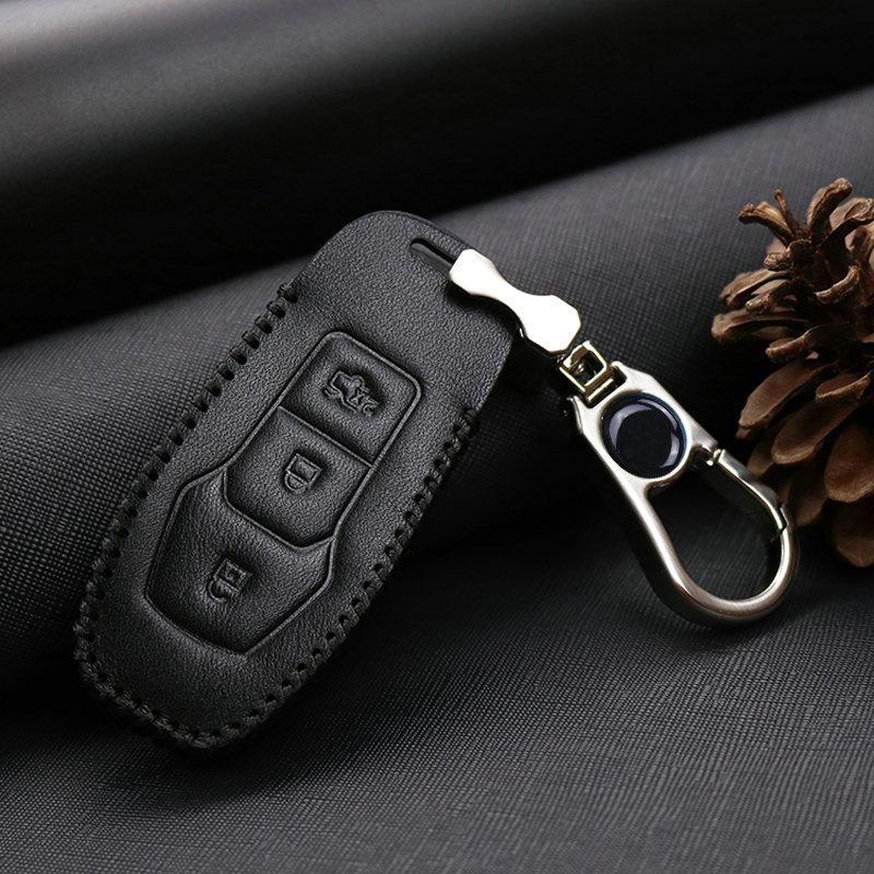 Etui clés de voiture en cuir pour Ford   Mondeo Kuga Mustang Edge MK3 MK4 MK5 Ranger C-Max Explorer 5 Fiesta ST F15 Galaxy Fusion