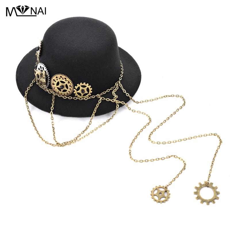 Retro Black Skull & Gears Chains Mini Top Hat Punk Mens Fedora Hat Steampunk Lolita Cosplay Hair Clip Accessories