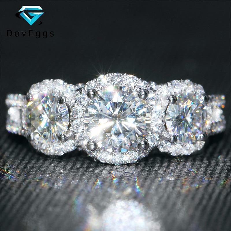 DovEggs Solide 14K 585 Weiß Gold 2 Carat F Farbe Runde Brilliant Labor Gezüchtet Moissanite Diamant Drei Stein Halo engagement Ring