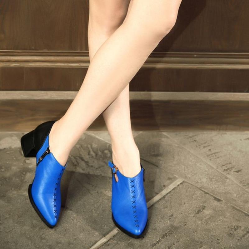 2016 البريطانية الصيف الإناث وأشار مكتنزة عالية الكعب مع مشبك سحابات الخياطة منصة بولي leather الجلود الرجعية أحذية مصممين غير رسمية