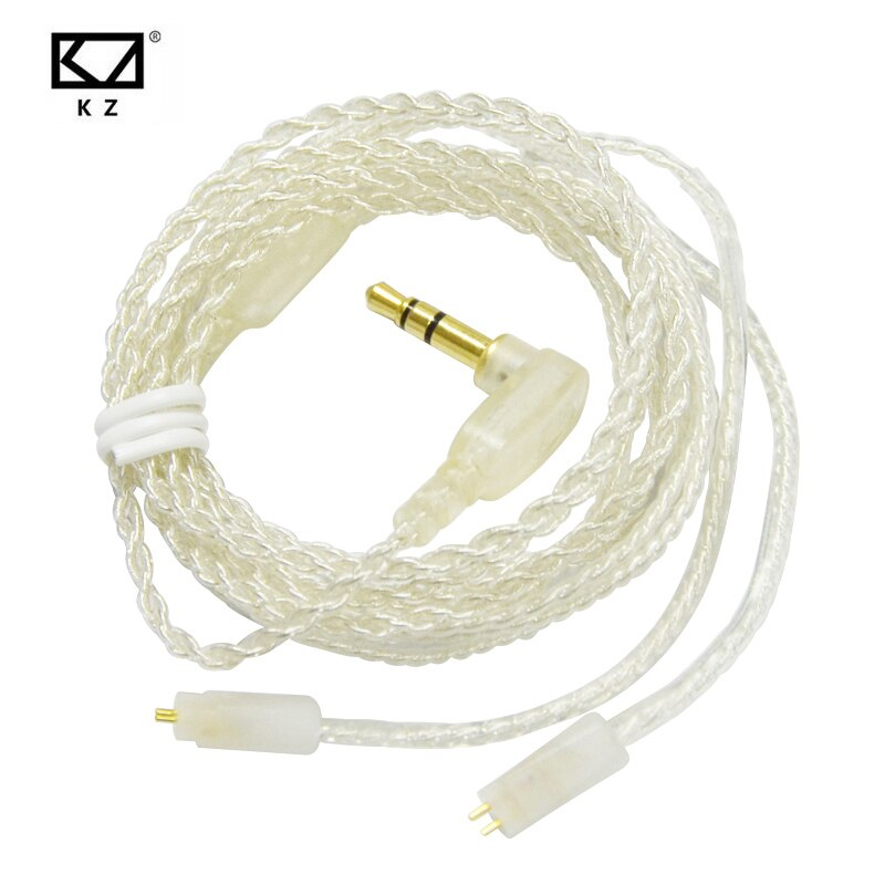 Cable plateado actualizado KZ ZST ED12 ZS6 ZS5 de 2 pines y 0,75mm para auriculares KZ, auriculares KZ ZST ED12 ZS5 ZS6