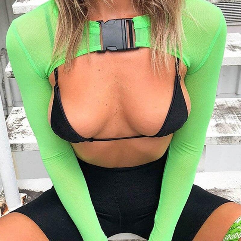 2019 mulheres malha t-shirts saco fivelas moda recortada topo manga longa voile sexy t topo clube festa ver através camisetas