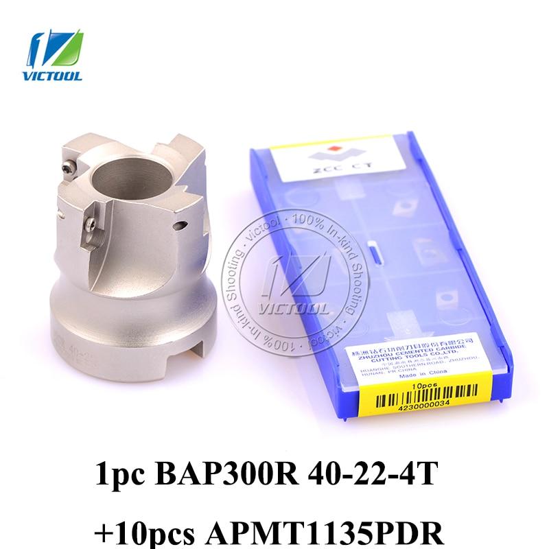 Shiping livre 1 pc BAP300R-40-22-4T Milling ferramenta com 10 pcs inserir moagem APMT1135PDR Rosto Moinho Cortador Ombro BAP 300R 40-22-4T