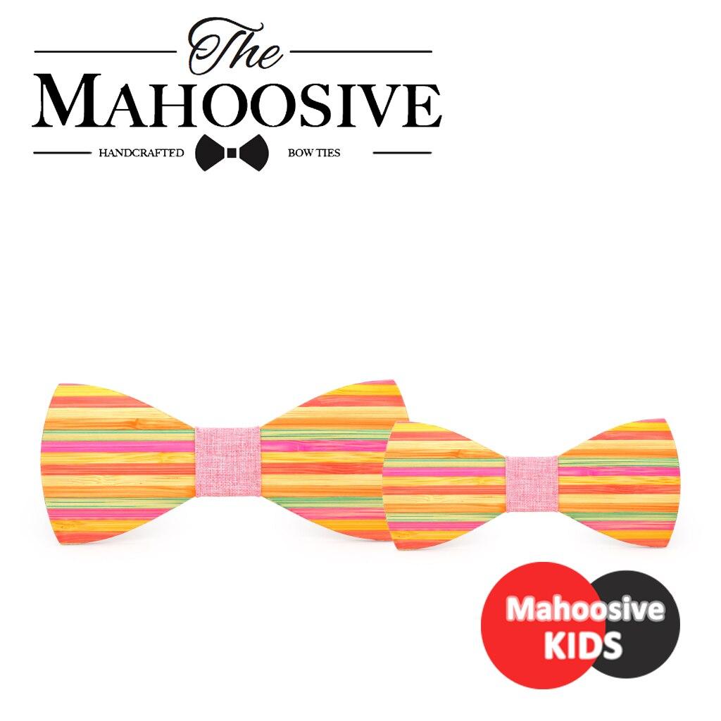 Corbata de moño de madera a rayas de arco iris Mahoosive lazos florales Kawaii mujeres Gravata Borboleta corbatas de cuello