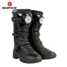 SCOYCO 2019 Motorcycle Boots Motocross Anti-skid Shock-proof Breathable Motorbike Botas Moto High Ankle Racing Shoes MBT012