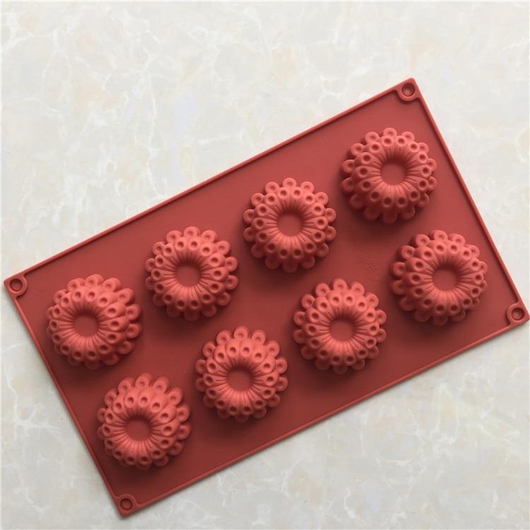Molde de silicone para bolo com 8 buracos, molde de silicone para bolo, chocolate, faixa de vapor h062