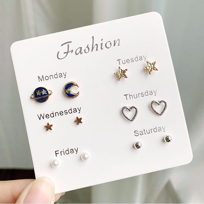 Moda para chicas, pendientes de plata de cristal con diamantes de imitación y perlas para mujer, conjunto de 6 pares de pendientes elegantes con forma de corazón