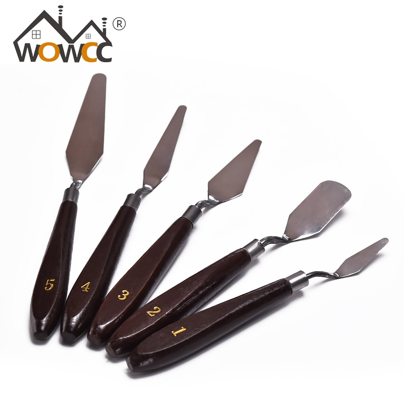 WOWCC 5pcs/Set Stainless Steel Spatula Baking Pastry Tool Mixing Scraper Pack Art Scorper Oil Scraper Painting Shovel Palette