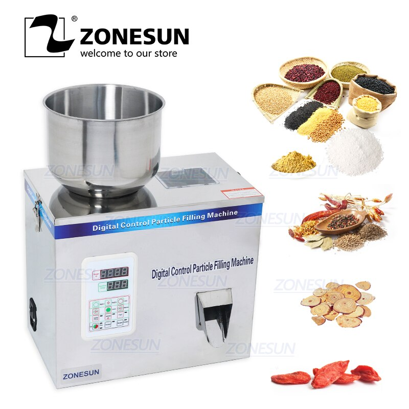 ZONESUN 1-100g Tea Filling Machine Tea Weighing Machine Grain PowderSeed Salt Filling Packing Machines Food Beverage Machinery