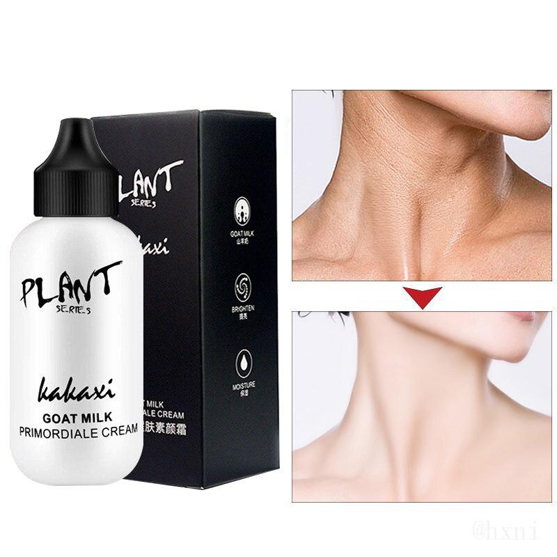 Leche de cabra crema tonificante Base facial Crema revitalizante cobertura completa impermeable Base de maquillaje Pro ilumina el tono de la piel TSLM1