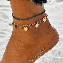 Bracelet pour la cheville pour femmes, avec des perles bohémiennes, chaîne pour la jambe, avec pompon, pour le pied, Vintage, accessoires de bijouterie, été