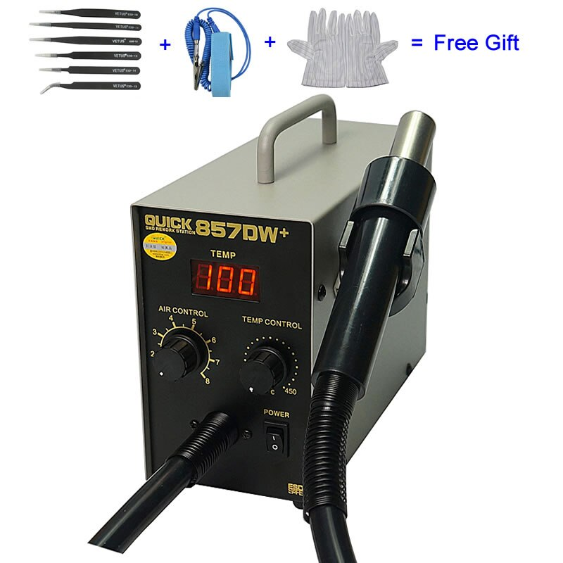 QUICK 857DW + pistola de aire caliente ajustable Estación de soldadura calentador helicoidal pistola de aire de viento SMD Estación de retrabajo
