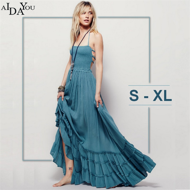 New Fashion Ladies' Elegant Maxi Dress Vintage Long Beach Dress Suspender Sleeveless Backless Slim Brand Design AIDAYOU ouc806