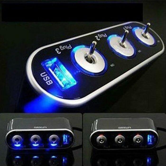 CARPRIE 3 Triple enchufe de encendedor de coche de 12 V/24 V + USB + Interruptor de luz LED July6 gota ShippingAPR16