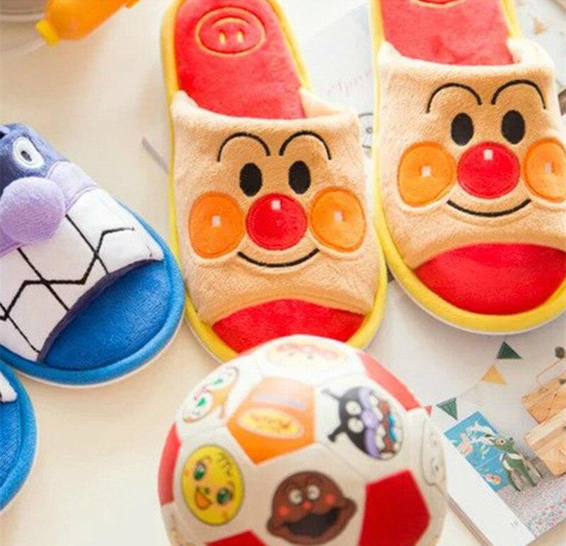 Dibujos Animados Anpanman, zapatillas de invierno para interiores, colección de muñecas, juguetes, muñecos de peluche, zapatos de regalo para niños, amor, mascota #1136