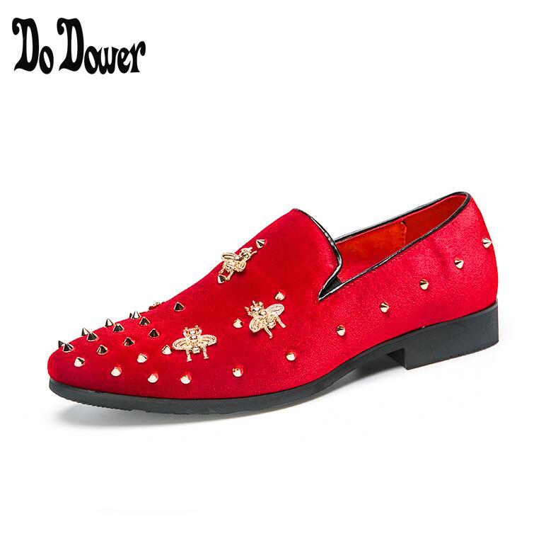 2019 Embroidery loafers men velvet shoes designer Black RED Men Smoking Slippers slacks male wedding and Party Dress Shoes 38-45
