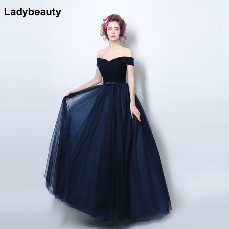Ladybeauty 2019 Navy blue Slit Short Evening Dresses women luxury Formal Gown Long Prom Dresses