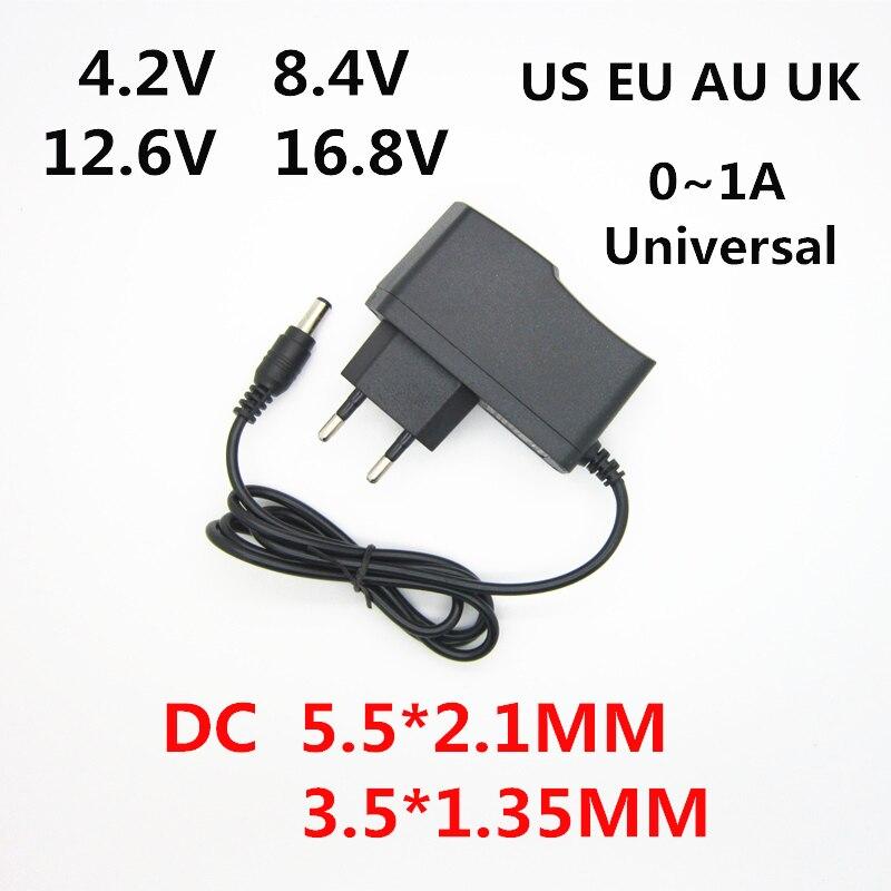 AC 100-240V DC 4.2 V 8.4 V 12.6 V 16.8 V 1A per 18650 batteria al litio caricabatterie adattatore di alimentazione 4.2 V 8.4 V 12.6 V 16.8 V 1000MA caricatore