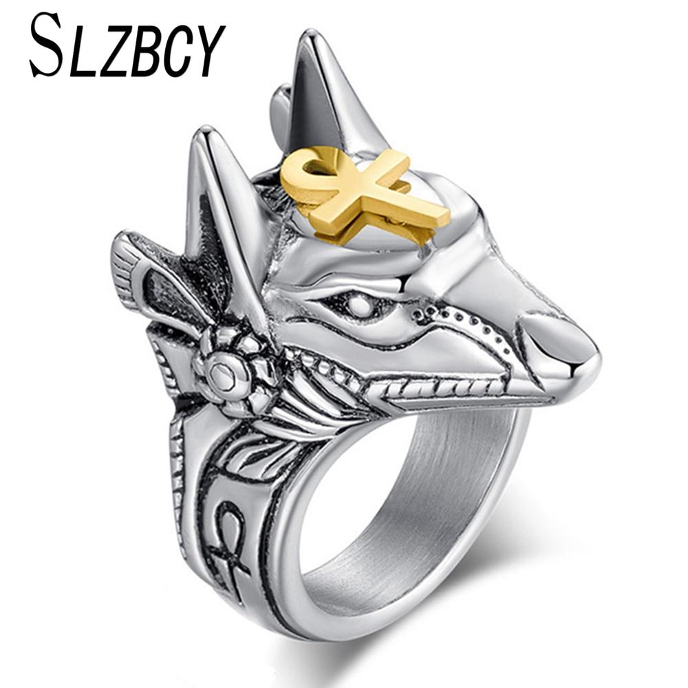 SLZBCY Acero inoxidable Cruz Egipcia Anubis Dios anillos de dedo para hombres mujeres Punk Lobo cabeza nudillo anillo declaración joyería Retro