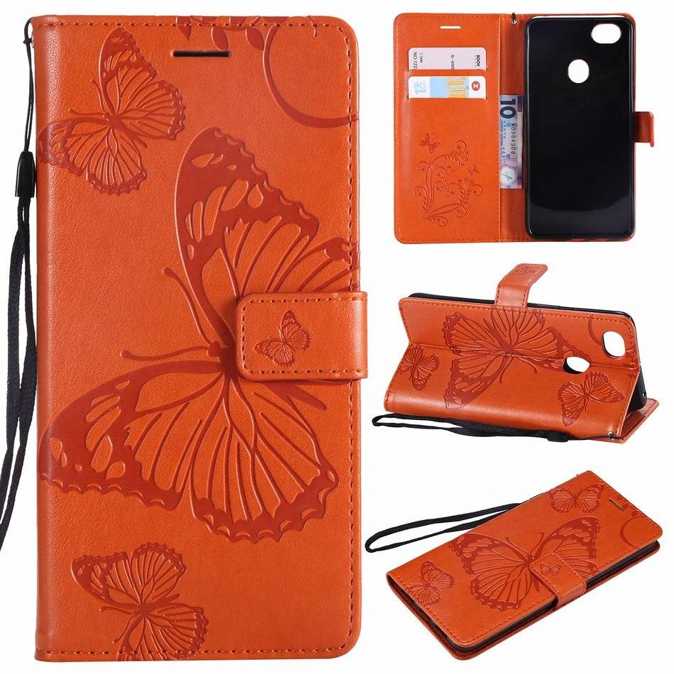 Capa mariposa marco para OPPO F5 F7 F9 A57 A59 A73 A83 R11S R17 ranura para tarjeta de moda casos de cuero cubierta magnética Flip Fundas DP06Z