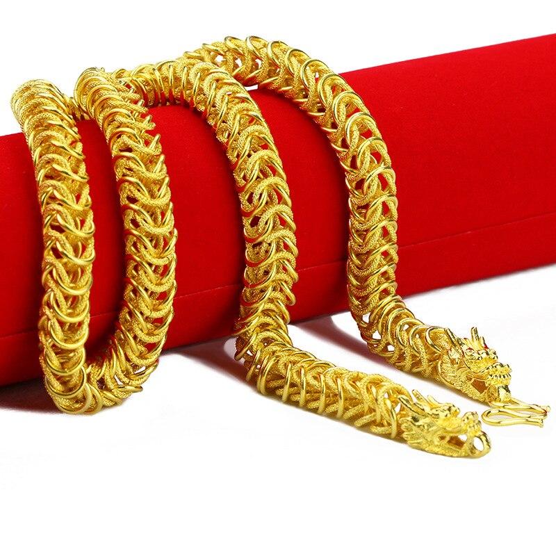 Мужская цепочка в стиле хип-хоп с изображением дракона, 23 дюйма, желтое золото, однотонное полугладкое и полупрозрачное ожерелье в стиле пан...