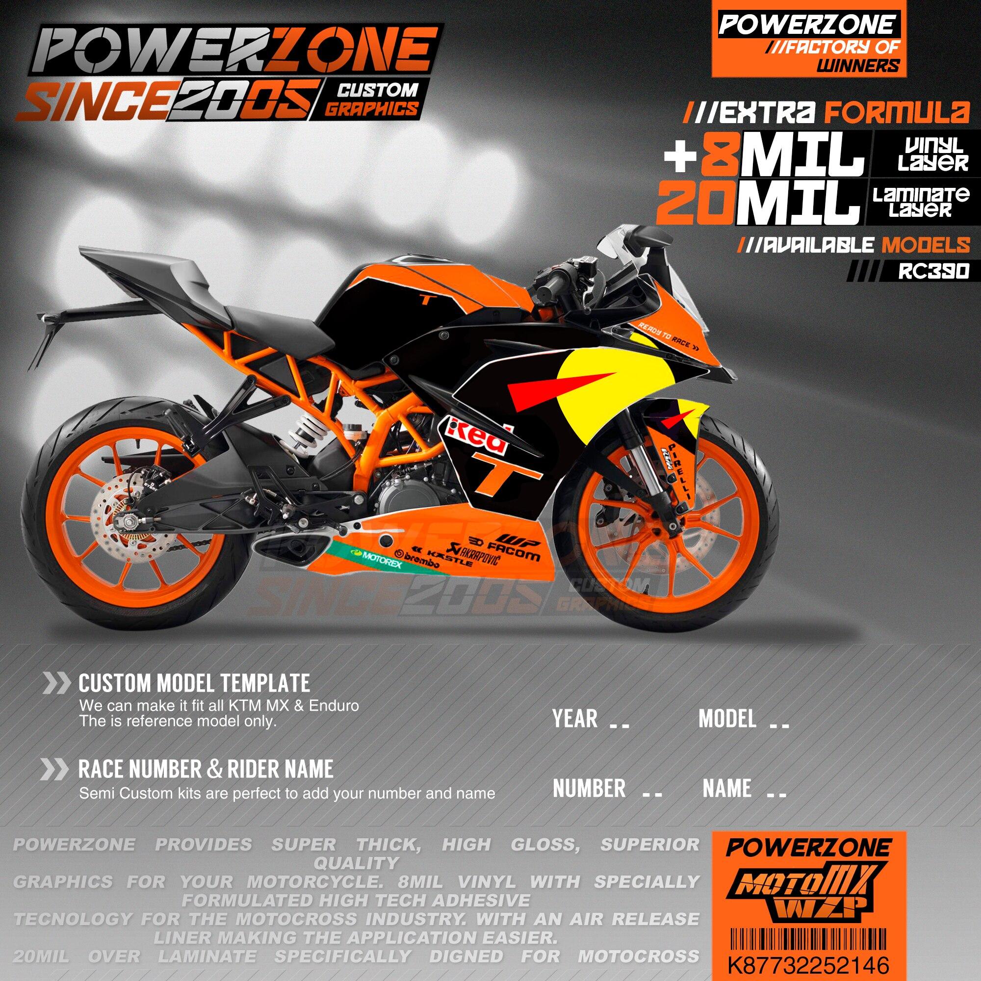 PowerZone equipo personalizado fondos gráficos calcomanías 3M pegatinas Kit para KTM RC390 2014-2016 2017-2019 146