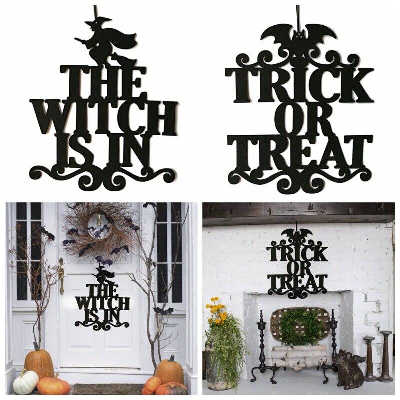 Fiesta en casa, truco o trato, decoración colgante, señales de puerta de bruja de textil no tejido, decoración de fiesta de Navidad de Halloween, accesorios colgantes para el hogar
