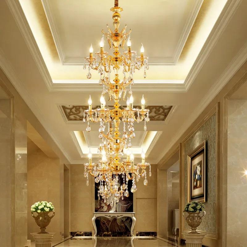 Lampe à suspendre pour escalier, lustre en or plaqué dans bâtiment Duplex, Led, lampe à suspendre pour l'escalier, salon, lustres rétro en alliage de Zinc, led moderne